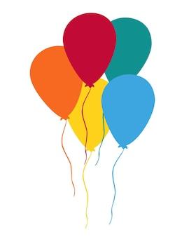 Set van kleurrijke ballonnen. gefeliciteerd. kleurrijke verjaardagsboeketballonnen, vliegend voor feesten en vieringen met berichtruimte. feest composities. geïsoleerde vector illustratie plat ontwerp.