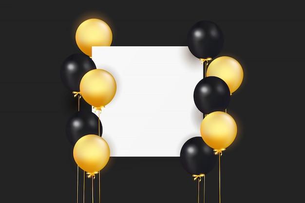 Set van kleurrijke ballonnen met confetti en lege ruimte voor tekst. vier een verjaardag, poster, banner gelukkige verjaardag. realistische decoratieve designelementen. feestelijke achtergrond met helium ballonnen