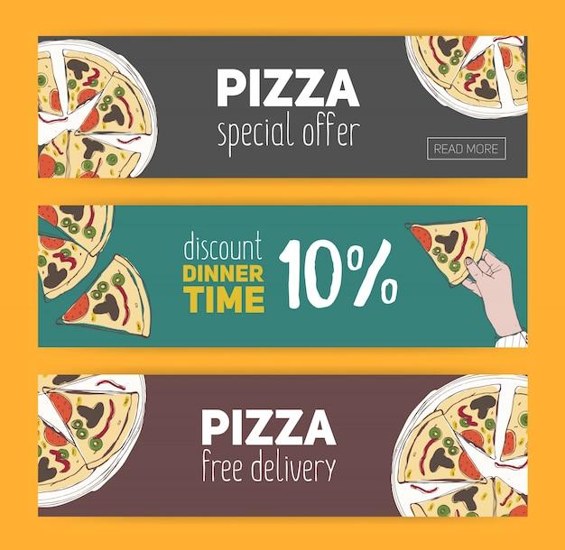 Set van kleurrijke banner sjablonen met hand getrokken pizza in plakjes gesneden. speciale aanbieding, korting op het diner en gratis maaltijd. illustratie voor italiaans restaurant, pizzeria, bezorgservice.