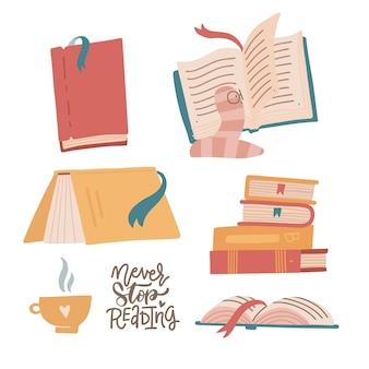 Set van kleurrijke boeken boek stapels stapels en kopje warme drank handgetekende bibliotheek met bookwarm