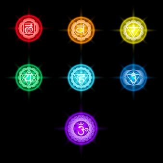 Set van kleurrijke chakra's iconen
