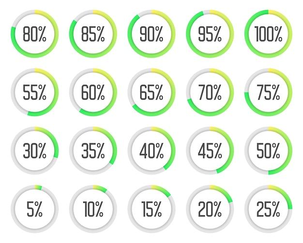 Set van kleurrijke cirkeldiagrammen. verzameling van groene percentagediagrammen