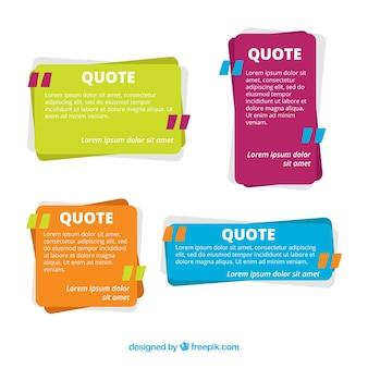 Set van kleurrijke citaten