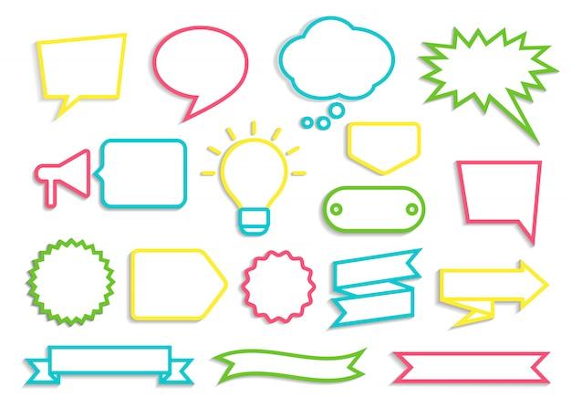 Set van kleurrijke contoured tekstballonnen, badges en linten met schaduw