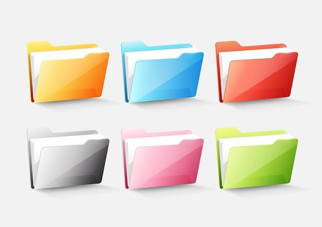 Set van kleurrijke document map map icoon