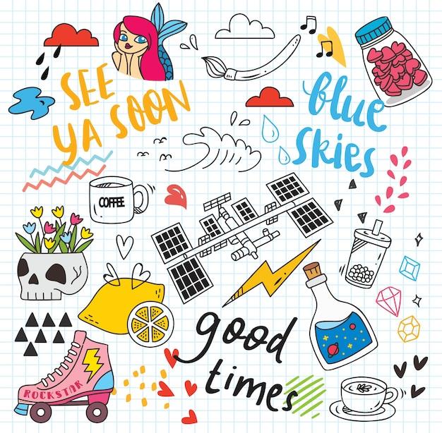 Set van kleurrijke doodle op papier achtergrond