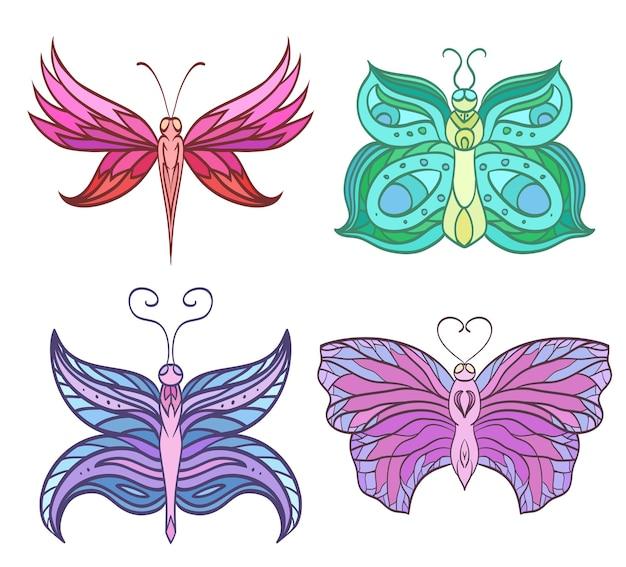 Set van kleurrijke doodle vlinders