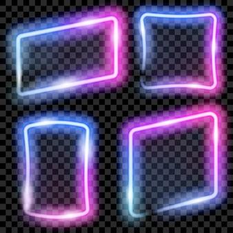Set van kleurrijke doorschijnende neon frames in blauwe en paarse kleuren op transparante achtergrond. transparantie alleen in vectorformaat