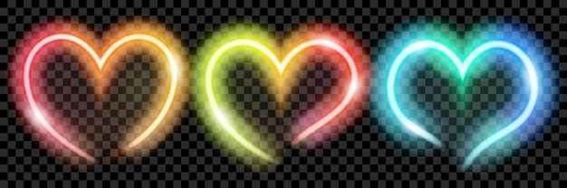 Set van kleurrijke doorschijnende neon harten op transparante achtergrond. transparantie alleen in vectorformaat