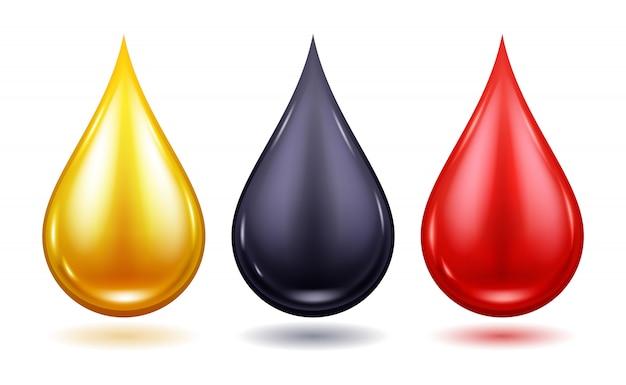 Set van kleurrijke druppels - olie, bloed, honing.