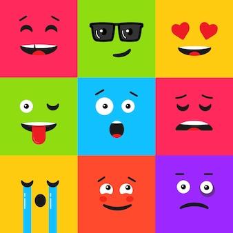 Set van kleurrijke emoticon. achtergrondpatroon met emoji. vectorillustratie in vlakke stijl.