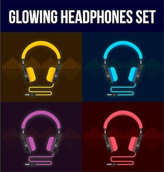 Set van kleurrijke en gloeiende koptelefoons