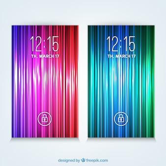 Set van kleurrijke en lichte wallpapers voor mobiel