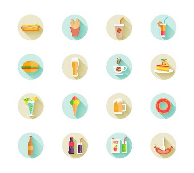 Set van kleurrijke fastfood iconen op knoppen voor het web met verschillende dranken en voedsel, waaronder hamburger
