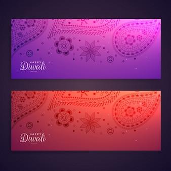 Set van kleurrijke gelukkige diwali banners