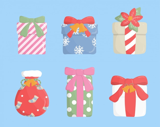 Set van kleurrijke geschenkdoos in papier gesneden stijl op blauwe achtergrond.