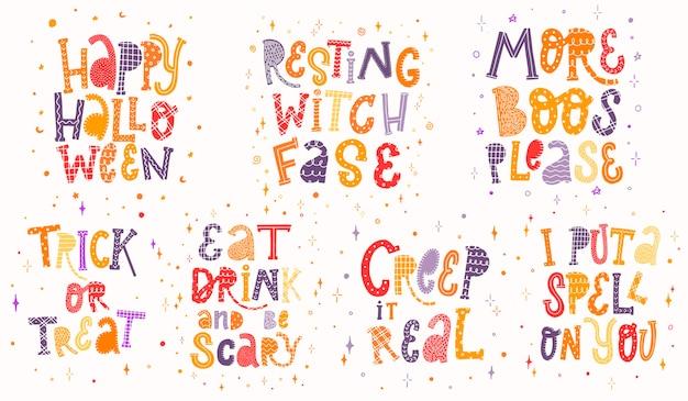 Set van kleurrijke halloween citaten