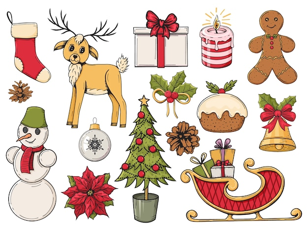 Set van kleurrijke hand getrokken kerst elementen. winter objecten. illustratie.