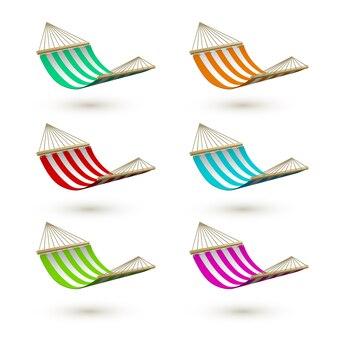Set van kleurrijke hangmat. gestreepte hangmatten.