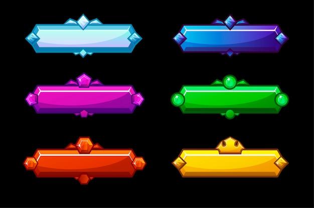 Set van kleurrijke heldere glanzende kristallen knoppen.