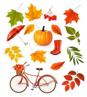 Set van kleurrijke herfstbladeren en objecten. illustratie.