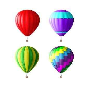 Set van kleurrijke hete lucht ballonnen geïsoleerd op een witte achtergrond
