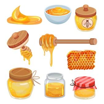Set van kleurrijke honing iconen. biologisch en gezond product. natuurlijke kleverige vloeistof. zoet eten