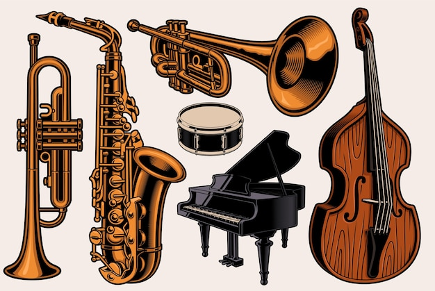 Set van kleurrijke illustraties van verschillende muziekinstrumenten