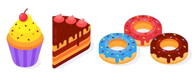 Set van kleurrijke isometrische bakkerijproducten iconen donuts, cake en muffin. favoriete eten.