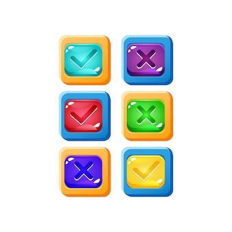 Set van kleurrijke ja en nee vinkjes jelly game ui-knop met grappige rand