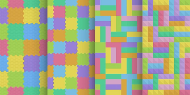 Set van kleurrijke kinderen schuim vloer naadloze patronen