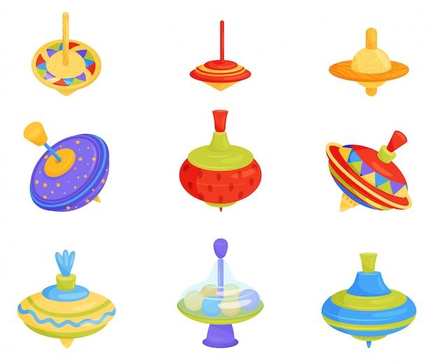 Set van kleurrijke kinderen zweefmolen speelgoed. houten en plastic tollen