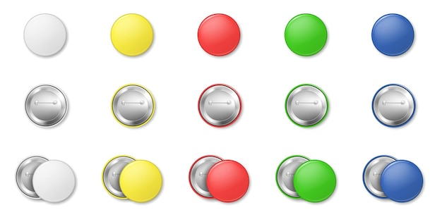 Set van kleurrijke knop pinnen geïsoleerd op een witte achtergrond. grote ronde badges-collectie. glanzende plastic knoop, realistische brochespelden. mockup vectorillustratie
