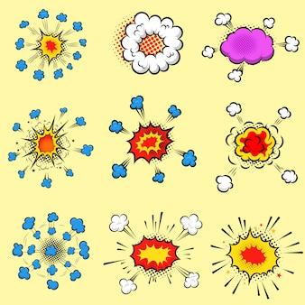 Set van kleurrijke komische stijl explosies. element voor poster, kaart, flyer, banner. beeld