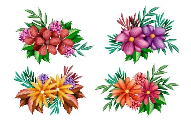 Set van kleurrijke lentebloemen