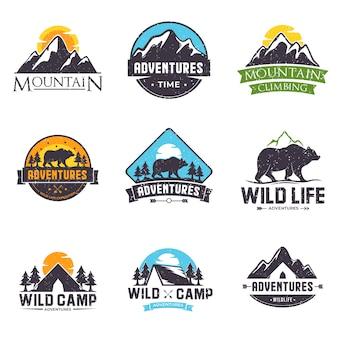 Set van kleurrijke logo voor avontuur of buitenshuis