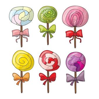 Set van kleurrijke lolly's in de hand getekende stijl. verzameling van spiraalvormige snoepjes schets