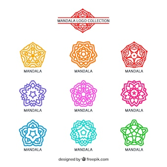 Set van kleurrijke mandala logo's