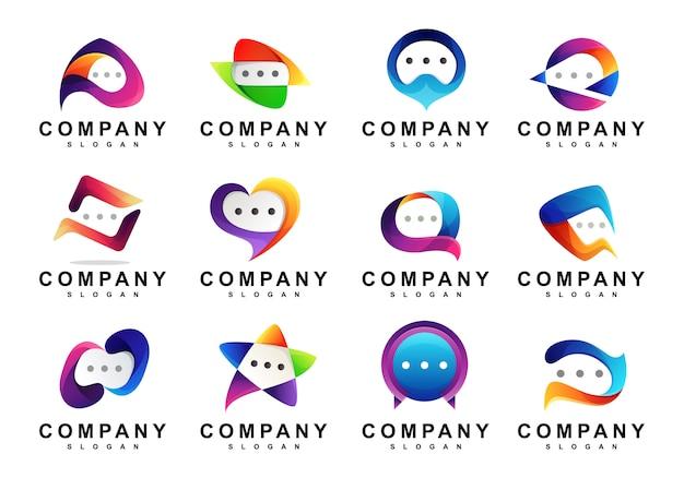 Set van kleurrijke media chat-logo