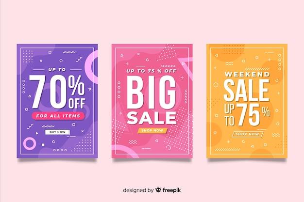 Set van kleurrijke memphis verkoop banner
