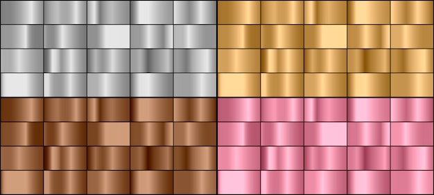 Set van kleurrijke metalen hellingen Premium Vector