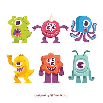 Set van kleurrijke monsters