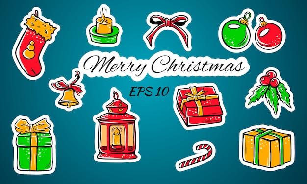 Set van kleurrijke mooie kerst iconen. decoratieve tekens van de vakantie. geschenken, ballen, sok, kaars zaklamp, boog.