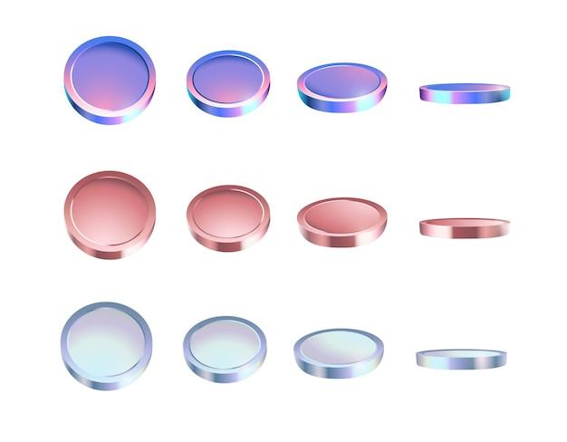 Set van kleurrijke munten in verschillende hoeken