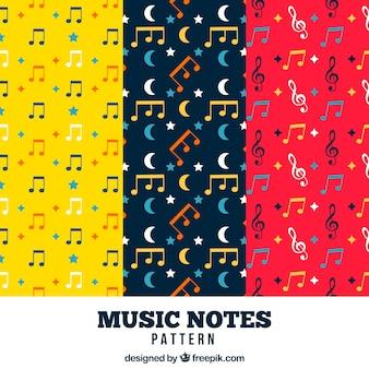 Set van kleurrijke muziekpatronen in plat ontwerp