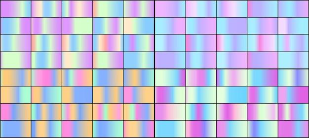 Set van kleurrijke neon holografische verlopen.