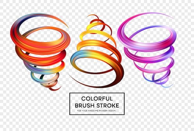 Set van kleurrijke penseelstreken.