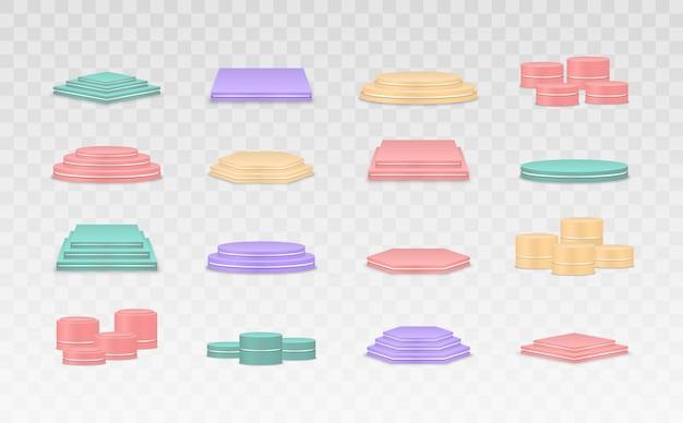 Set van kleurrijke podia sokkels