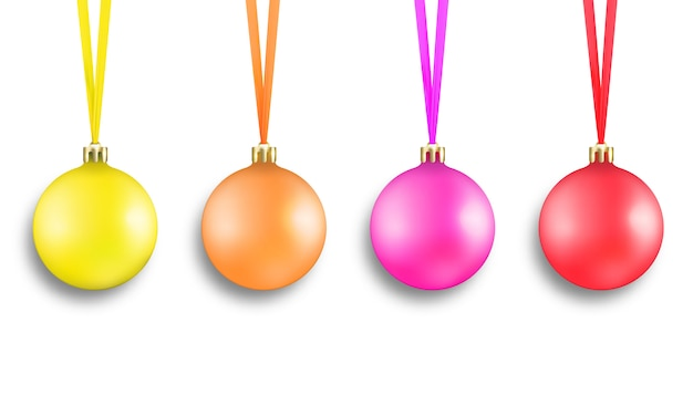 Set van kleurrijke realistische xmas ballen decoraties met linten