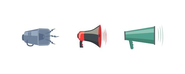 Set van kleurrijke rupor in flat. luidspreker megafoon, pictogram of symbool geïsoleerd op een witte achtergrond. concept voor sociale netwerken, promotie en reclame. illustratie.